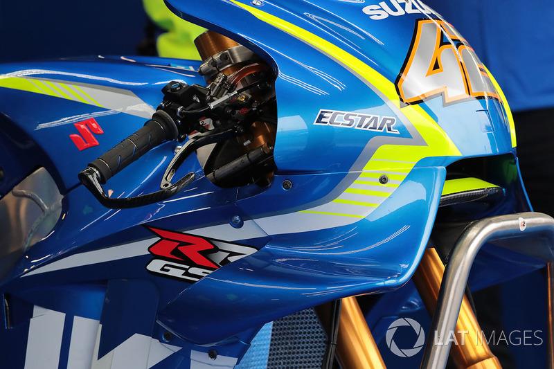 Detalle de la moto de Alex Rins, Team Suzuki MotoGP, Suzuki