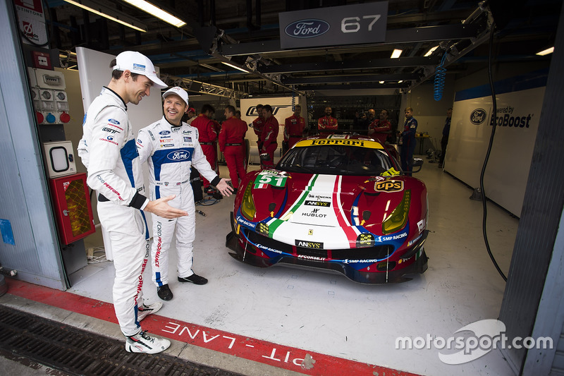 Andy Priaulx, Harry Tincknell, Ford Chip Ganassi Racing, mit dem #51 AF Corse Ferrari 488 GTE in ihr