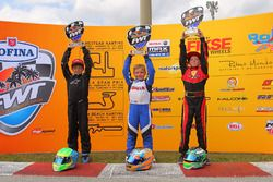 Podium Micro ROK Championship: winner Oliver Denny, second place Connor Zilisch, third place Jeremy Fletecher