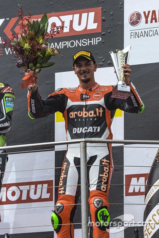 Derde, Davide Giugliano, Aruba.it Racing - Ducati Team op het podium