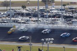 Crash: Chris Buescher, Front Row Motorsports Ford and Matt DiBenedetto, BK Racing Toyota