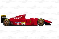El Ferrari T412TB1 conducido por Michael Schumacher en essais