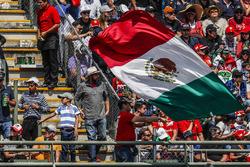 Un fan avec le drapeau mexicain dans les tribunes