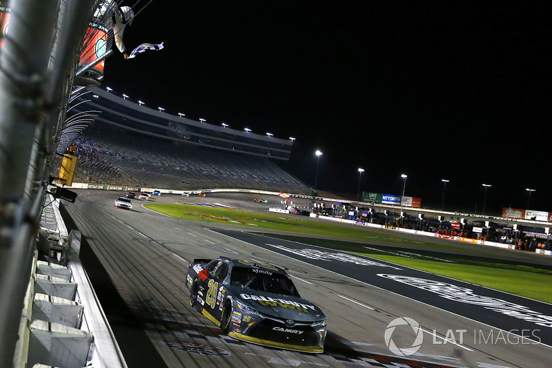 Erik Jones, Joe Gibbs Racing Toyota, takes the checkered flag