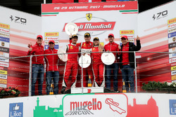 Podium Coppa Shell: Race winner #360 Formula Racing Ferrari 488: Johnny Laursen, second place #347 Charles Pozzi Ferrari 488: Henry Hassid, third place #301 Octane 126 Ferrari 488: Fabienne Wohlwend