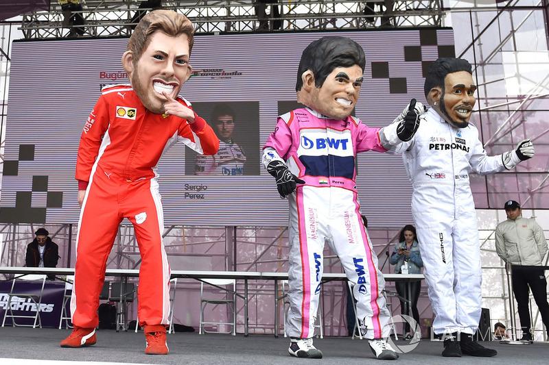 Guiñoles de Sebastian Vettel, Ferrari, Sergio Perez, Force India, Lewis Hamilton, Mercedes-AMG F1