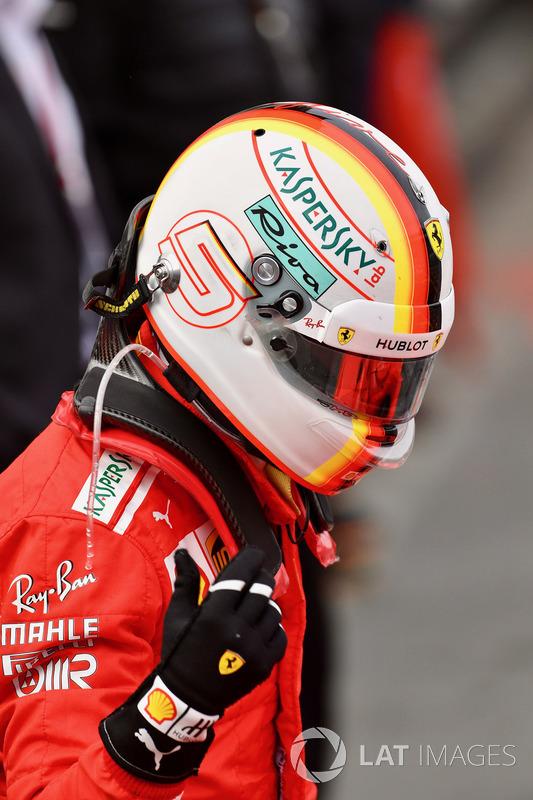 Sebastian Vettel, Ferrari in parc ferme at Azerbaijan GP