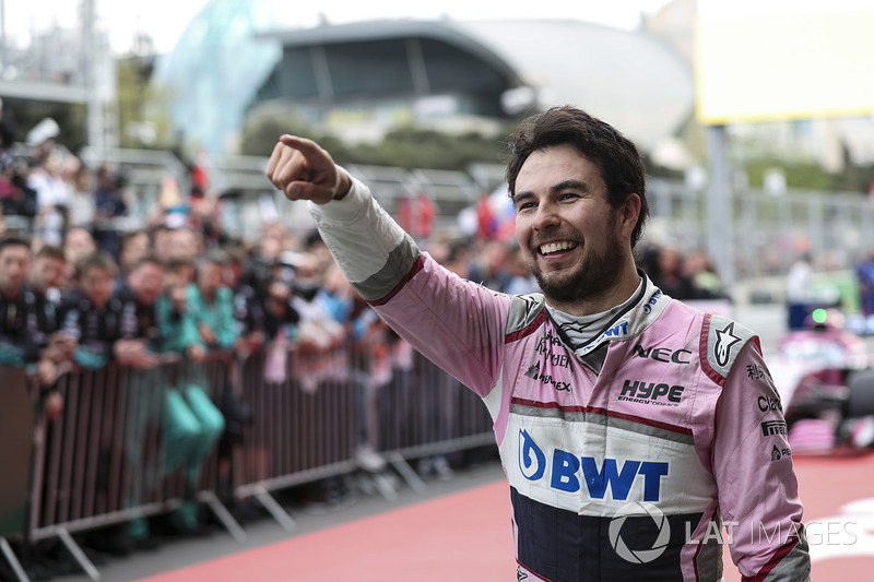 Third place Sergio Perez, Force India celebrates in parc ferme