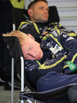Aston Martin Racing team members sleep