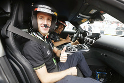 Professional Road Cyclist Simon Yates of Michelton-Scott in car for his hot laps experience