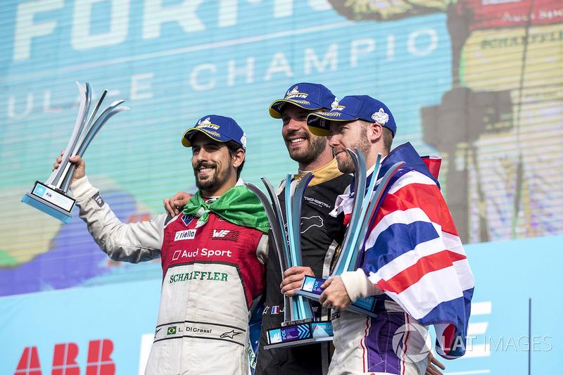 Jean-Eric Vergne, Techeetah, celebrates on the podium with Lucas di Grassi, Audi Sport ABT Schaeffler, Sam Bird, DS Virgin Racing