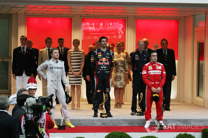 Podium: race winner Mark Webber, Red Bull Racing, Nico Rosberg, Mercedes AMG F1, third place Fernand