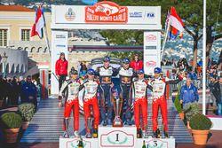 Podium: winners Sébastien Ogier, Julien Ingrassia, M-Sport Ford, second place Ott Tanak, Martin Järv