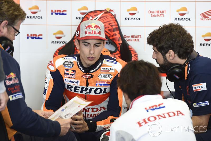 """Marc Márquez: """"O pódio era possível, porque após o acidente a moto não estava perfeita mas ainda assim estava em um bom ritmo. Um ritmo semelhante ao dos outros pilotos do pódio. Mas Lorenzo hoje foi mais rápido que todos."""""""
