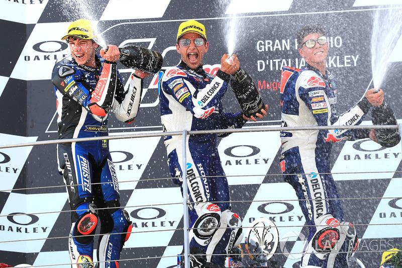 Podio: il vincitore della gara Jorge Martin, Del Conca Gresini Racing Moto3, il secondo classificato Marco Bezzecchi, Prustel GP, il terzo classificato Fabio Di Giannantonio, Del Conca Gresini Racing Moto3