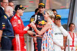 Second place Sebastian Vettel, Ferrari, receives his trophy from Princess Charlene of Monaco