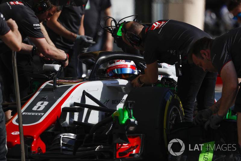 Romain Grosjean, Haas F1 Team VF-18 Ferrari, in the pits during practice