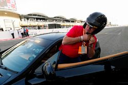 TV Chef and Presenter James Martin climbs in a car for the F1 Pirelli Hot Laps experience