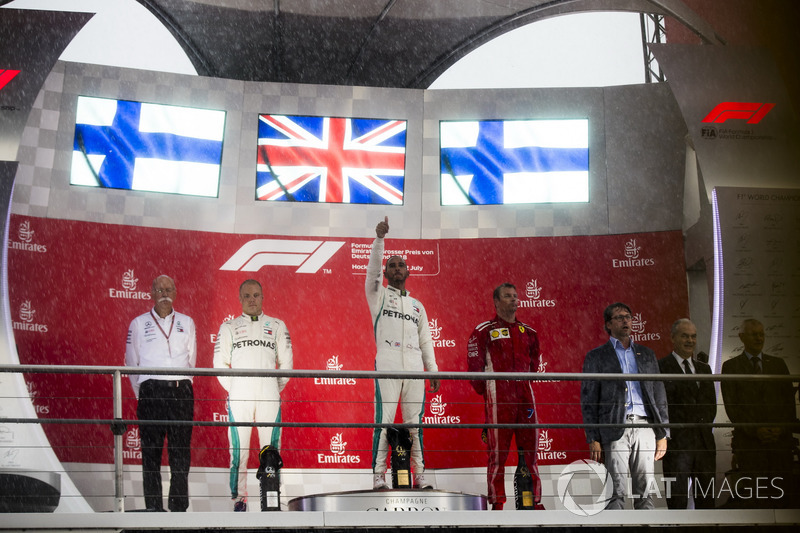 Podium: second place Valtteri Bottas, Mercedes AMG F1, Race winner Lewis Hamilton, Mercedes AMG F1, third place Kimi Raikkonen, Ferrari