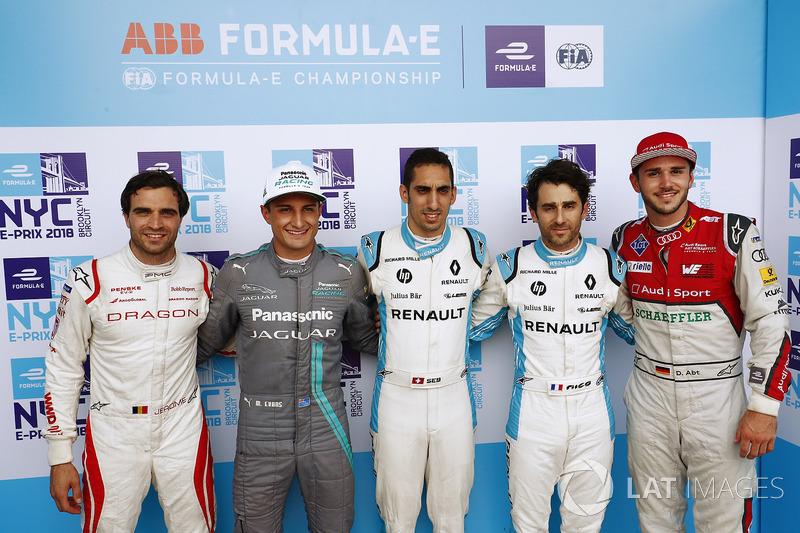 Jérôme d'Ambrosio, Dragon Racing, Mitch Evans, Jaguar Racing, Sébastien Buemi, Renault e.Dams, Nicolas Prost, Renault e.Dams, Daniel Abt, Audi Sport ABT Schaeffler, celebrate after qualifying
