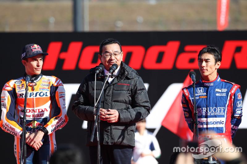 Honda President, Takahiro Yachi, with Marc Marquez and Takuma Sato