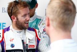 Sam Bird, DS Virgin Racing, talking to Felix Rosenqvist, Mahindra Racing, in the media pen