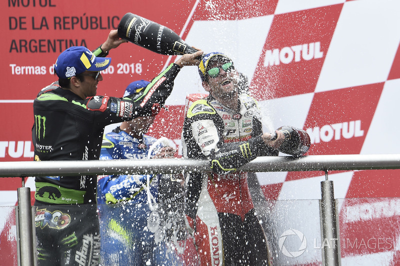 Second place Johann Zarco, Monster Yamaha Tech 3, Race winner Cal Crutchlow, Team LCR Honda