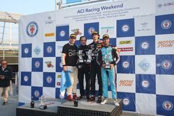 Podium race 3: race winner Lorenzo Colombo, Bhaitech, second place Ian Rodriguez Wright, DRZ Benelli, third place Kush Maini, Jenzer Motorsport