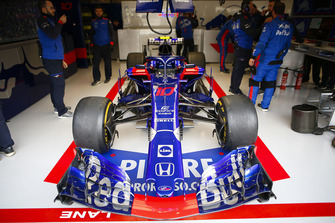 The car of Pierre Gasly, Toro Rosso STR13, in the garage