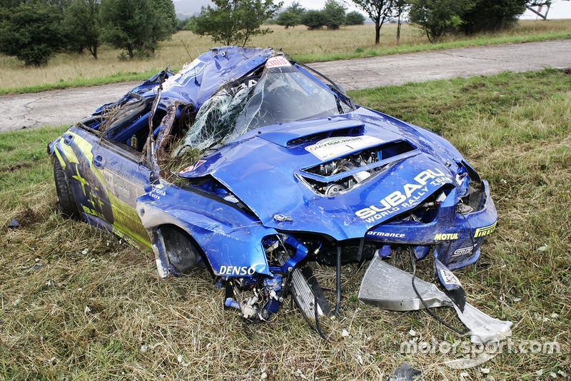 Petter Solberg, Phil Mills, Subaru Impreza, coche accidentado