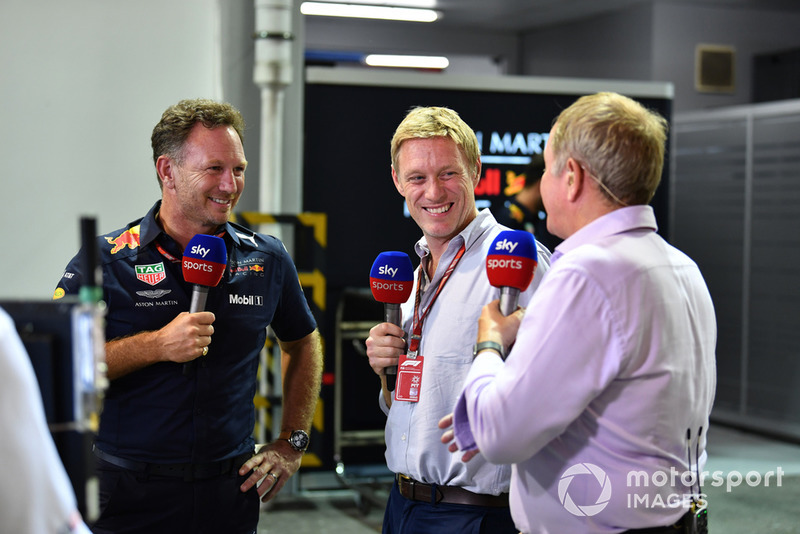 Christian Horner, Red Bull Racing Team Principal. Simon Lazenby, Sky TV y Martin Brundle, Sky TV