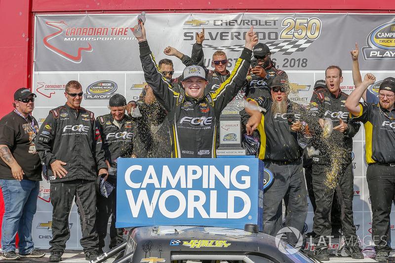 Justin Haley, GMS Racing, Chevrolet Silverado Fraternal Order Of Eagles, winner Russ LaBounty