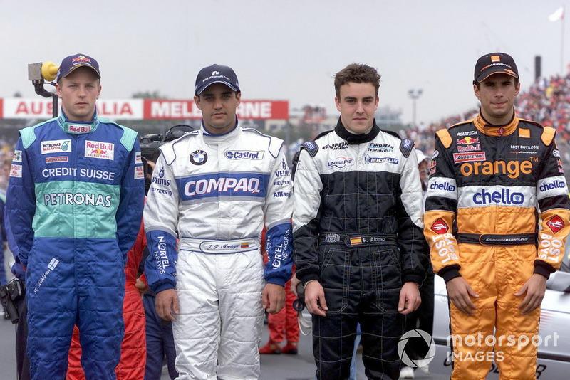 Kimi Raikkonen, Sauber C20, Juan Pablo Montoya, Williams, Fernando Alonso, Minardi y Enrique Bernoldi, Arrows