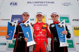 Podium: Race winner Mick Schumacher, PREMA Theodore Racing Dallara F317 - Mercedes-Benz, second place Jüri Vips, Motopark Dallara F317 - Volkswagen, third place Jonathan Aberdein, Motopark Dallara F317 - Volkswagen