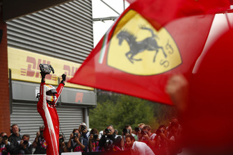 Sebastian Vettel, Ferrari, 1st position, celebrates on arrival in Parc Ferme