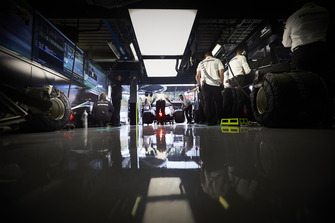 The Valtteri Bottas Mercedes AMG F1 W09 is pushed into the team's garage