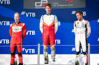 Podium: race winner Leonardo Pulcini, Campos Racing, second place Nikita Mazepin, ART Grand Prix, third place Anthoine Hubert, ART Grand Prix
