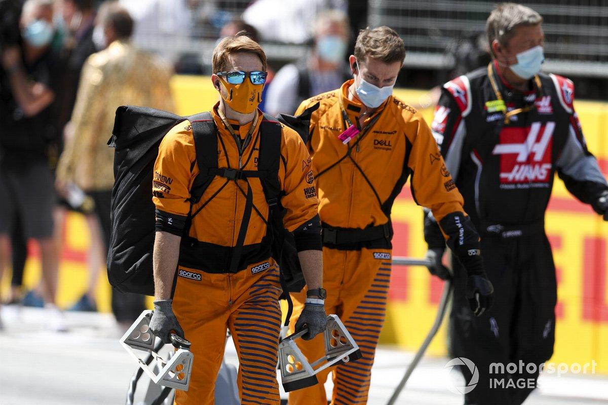 McLaren mechanics on the grid