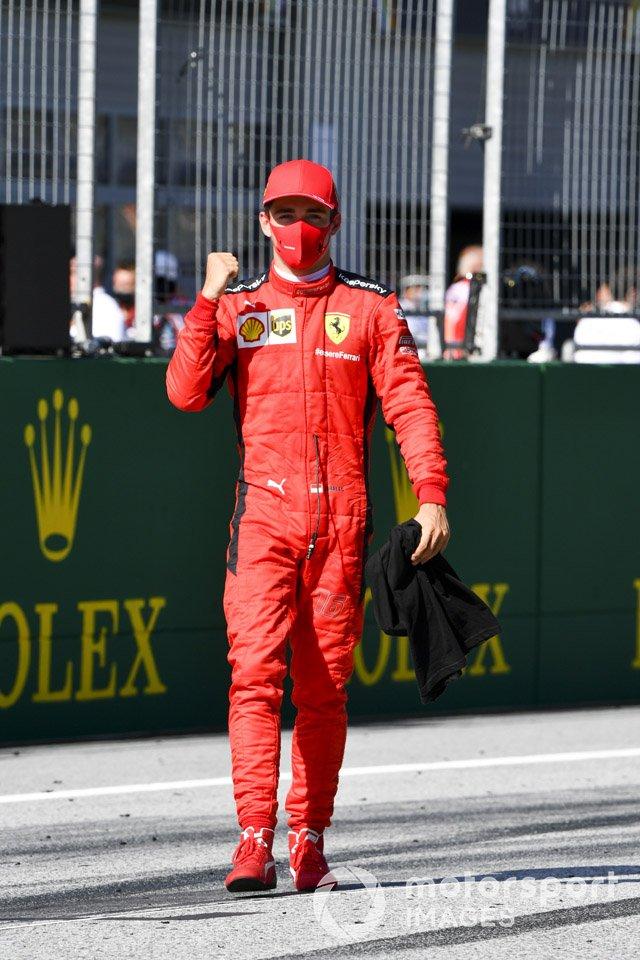 Charles Leclerc, Ferrari festeggia al parc ferme