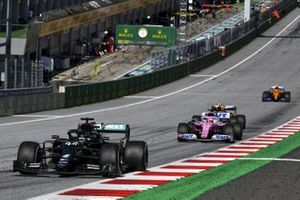 Lewis Hamilton, Mercedes F1 W11 EQ Performance, leads Sergio Perez, Racing Point RP20, and Alex Albon, Red Bull Racing RB16