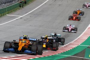 Lando Norris, McLaren MCL35 leads Alex Albon, Red Bull Racing RB16 and Lewis Hamilton, Mercedes F1 W11 EQ Performance