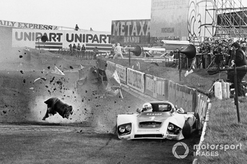 1979 Silverstone 6 Hours: Jochen Mass crashes his Essex Porsche