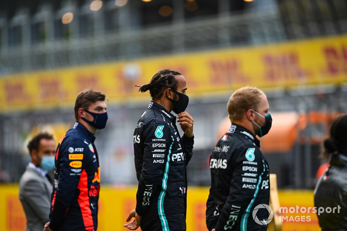Lewis Hamilton, Mercedes-AMG Petronas F1, Valtteri Bottas, Mercedes-AMG Petronas F1 and Max Verstappen, Red Bull Racing celebrate on the podium