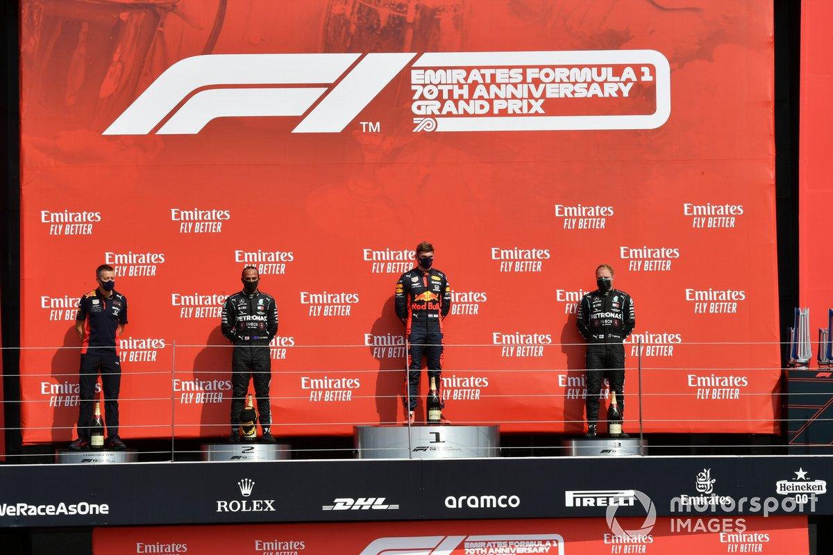 70e Anniversaire - Podium : Max Verstappen, Lewis Hamilton, Valtteri Bottas
