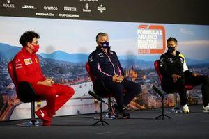 Mattia Binotto, Team Principal Ferrari, Otmar Szafnauer, Team Principal and CEO, Racing Point, and Marcin Budkowski, Executive Director, Renault F1 Team, in the Team Principals Press Conference