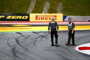 Pirelli engineers on the track walk