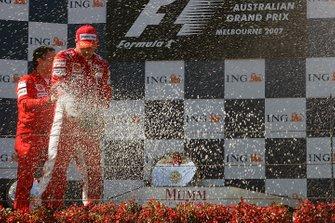 Race winner Kimi Raikkonen, Ferrari on the podium