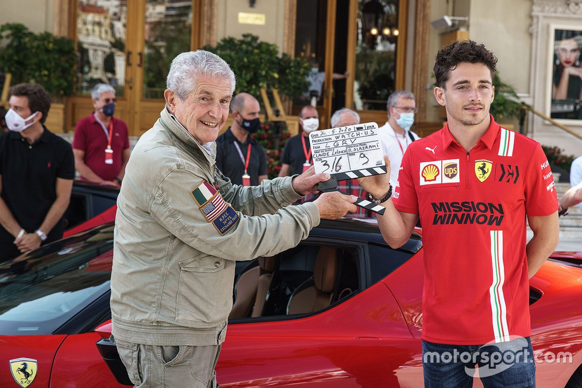 Claude Lelouch and Charles Leclerc, Ferrari