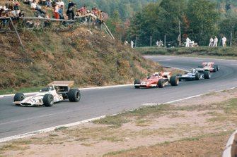 Pedro Rodriguez, BRM P153, leads Clay Regazzoni, Ferrari 312B, François Cevert, March 701 Ford, and Chris Amon, March 701 Ford