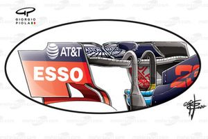 Dettagli dell'alettone posteriore della, Red Bull Racing, RB16, al GP di Gran Bretagna